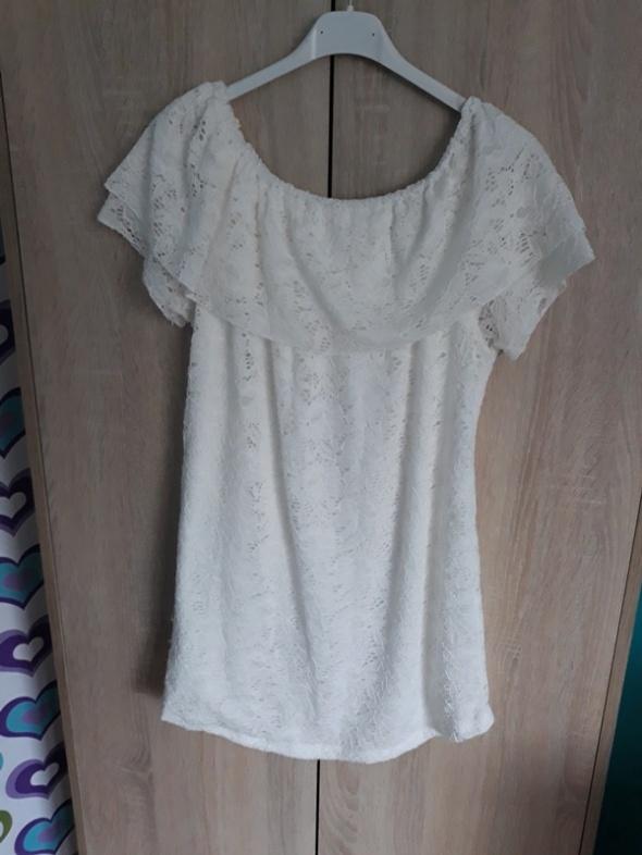 Nowa biała koronkowa bluzka falbana m l xl...