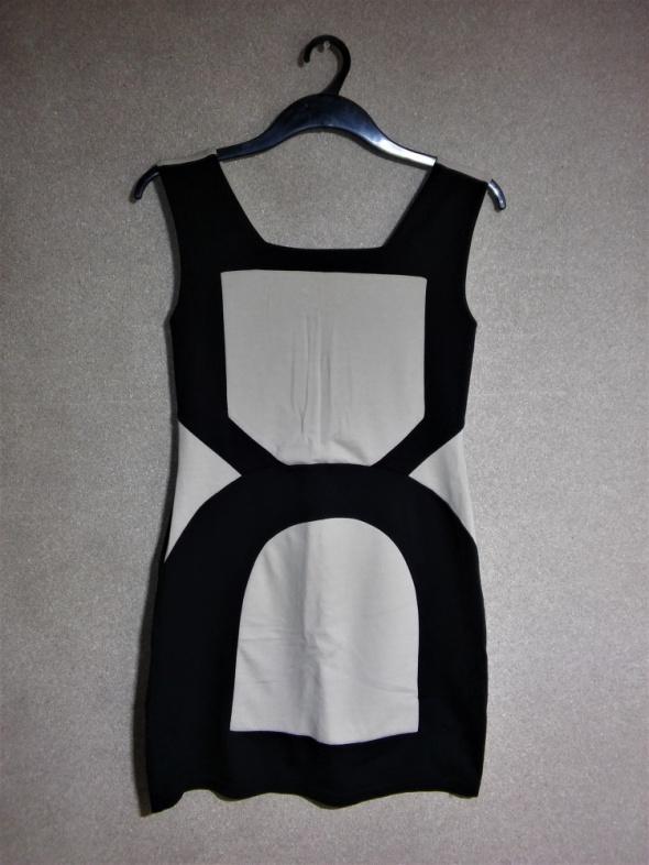 Czarno beżowa elastyczna sukienka bodycon 40 42