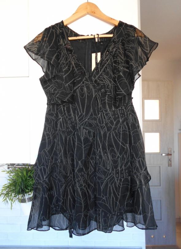 Topshop nowa elegancka sukienka wzory mgiełka zdobiona wesele