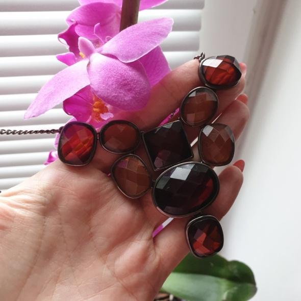 Reserved nowy z metką naszyjnik z brązowymi kryształkami