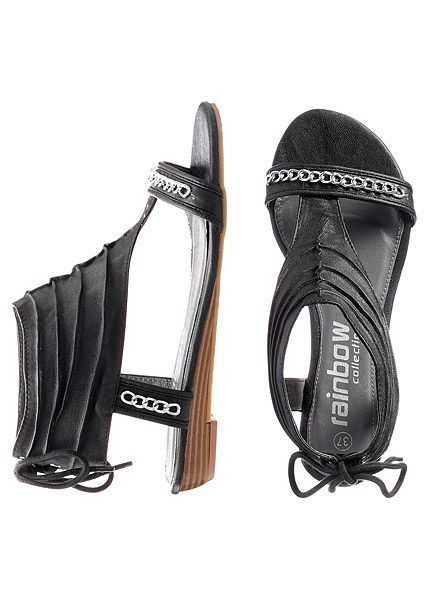 sandały w kolorze czarnym tył wiązany