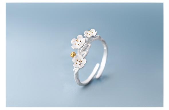 Nowy pierścionek srebrny srebro 925 natura kwiat kawitek jabłoń...