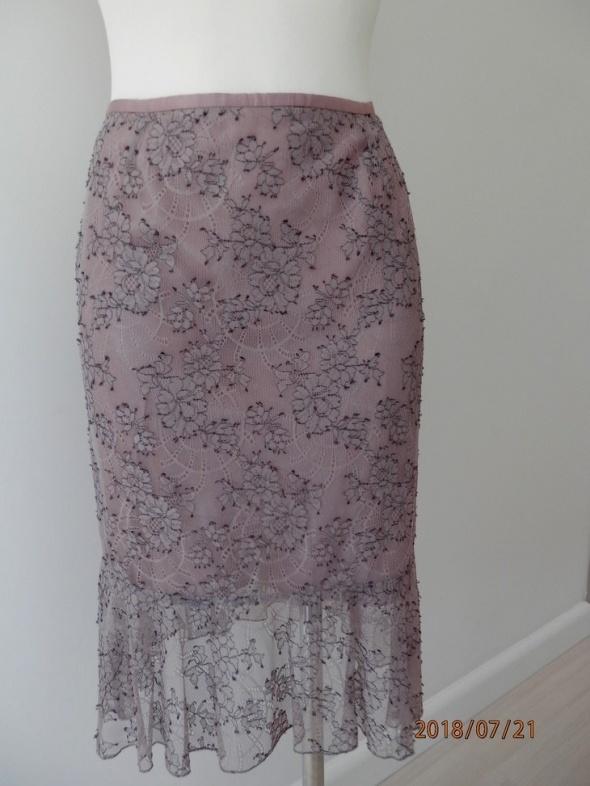 Spódnica Koronkowa Lawendowa Wrzosowa Midi Nowa z Metką by UK 36