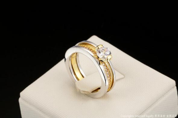 Nowy podwójny pierścionek złoty srebrny kolor pozlacany obrączka cyrkonie dwa pierścinki