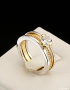 Nowy podwójny pierścionek złoty srebrny kolor pozlacany obrączk...