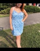 Sukienka z frędzlami Selfieroom baby blue...