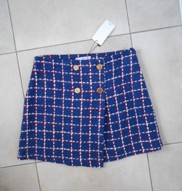 Mango nowa spódniczka tweedowa kratka uczennica guziki