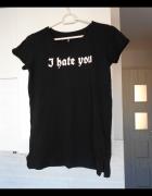 Sinsay czarna koszulka tshirt napis i hate you...