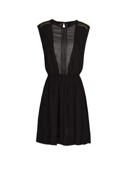 Czarna szyfonowa sukienka MANGO