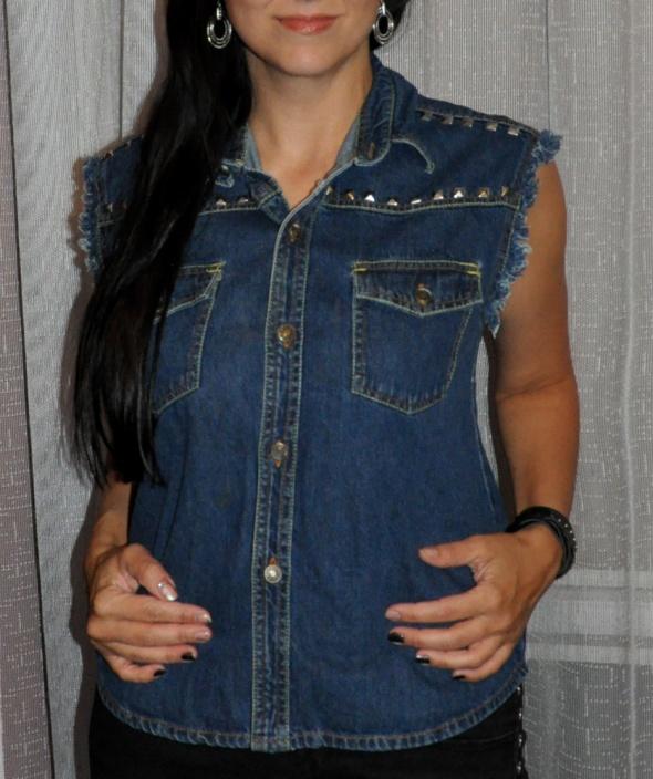 jeansowy bezrękawnik z ćwiekami