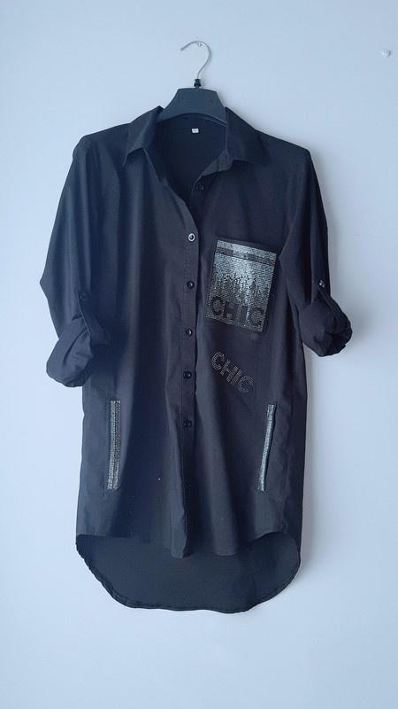 Idealna dłuższa czarna koszula S