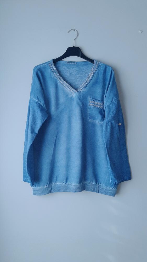 Idealna niebieska bluzka długi rękaw