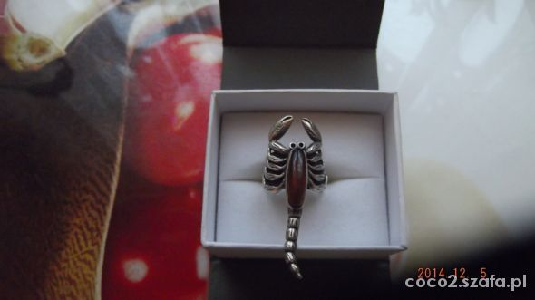 Srebrny skorpion z bursztynem