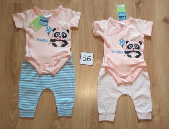 Nowy komplet Body kopertowe panda krótki rękaw i spodnie w paski 56