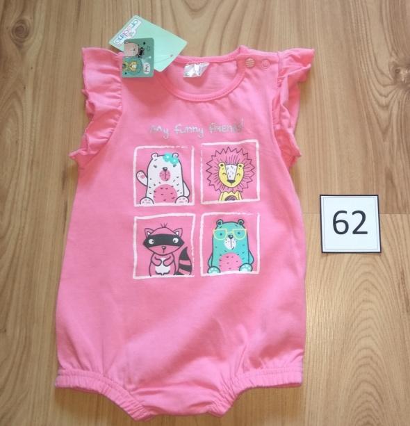 Nowy różowy rampers dla dziewczynki falbanki 62