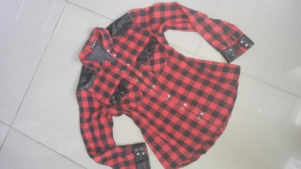 Włoska Koszula w kratkę czerwono czarna Drole de Copine M