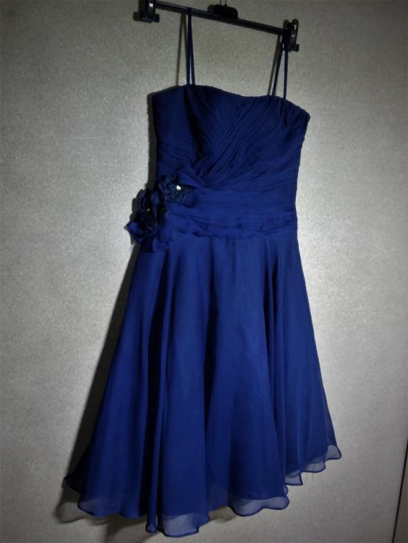 Granatowa rozkloszowana gorsetowa sukienka 36 3