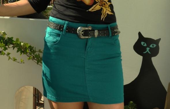 zielona jeansowa spódniczka...