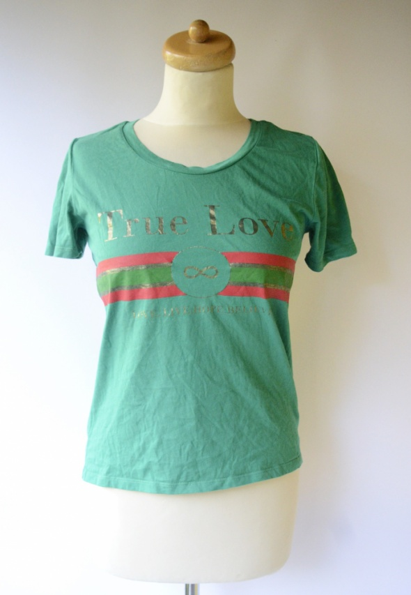 Bluzka Zielona Only XS 34 Bejsbolówka True Love Napis
