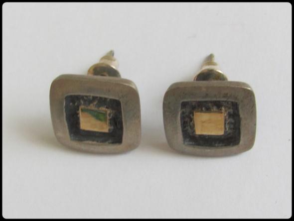 Kolczyki srebrne kwadraciki z zatyczkami
