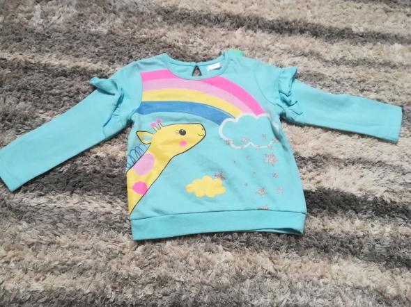 Nowa turkusowa bluza z tęczą i żyrafą rozm 86