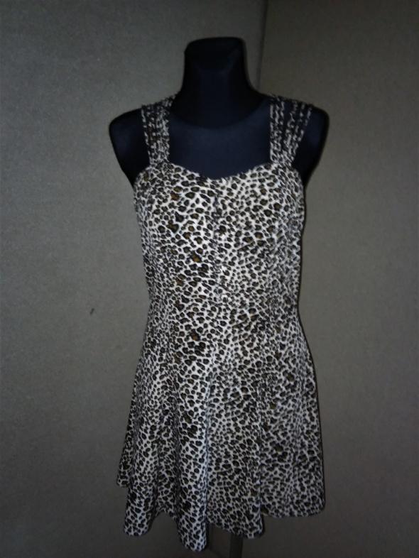 Rozkloszowana sukienka panterka z wycięciami na pl