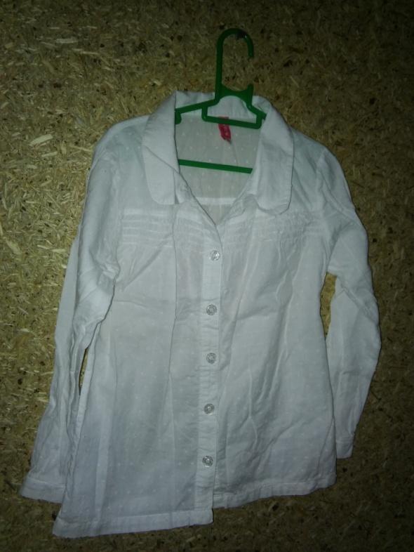 Biała elegancka dziewczęca koszula z kołnierzykiem 116 cm