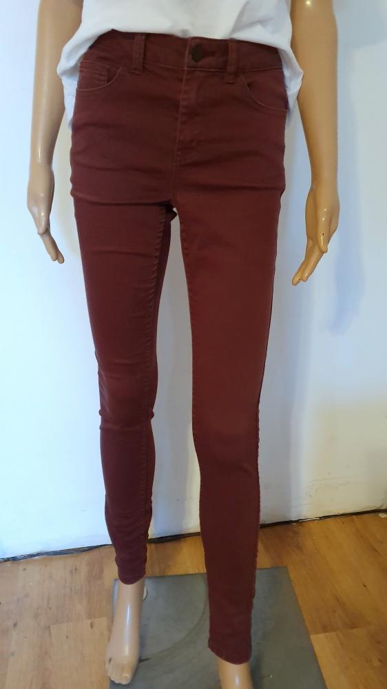 Bordowe spodnie rurki wysoki stan r SM...
