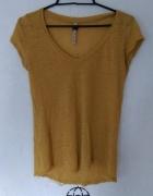 Musztardowa lniana bluzka