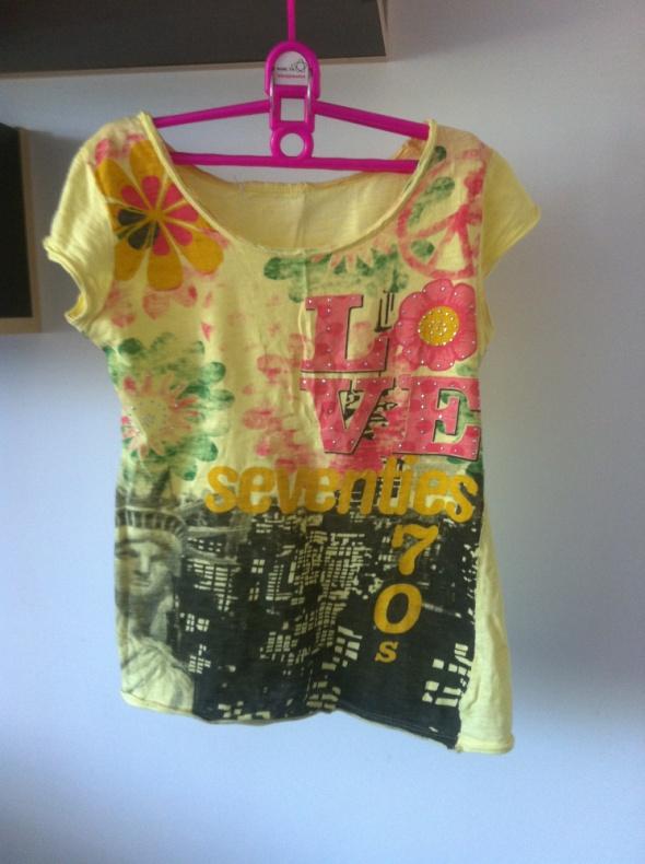 Koszulka tshirt żółta nadruk XS S M