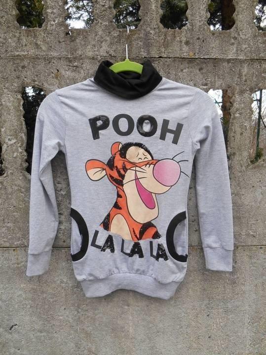 Szara Bluza sweter z golfem 128 134 Kubuś Puchatek TYGRYSEK