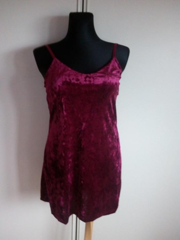 Nowa bordowa welurowa sukienka L