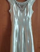 Metaliczna suknia zdobiona Warehouse 36 38...