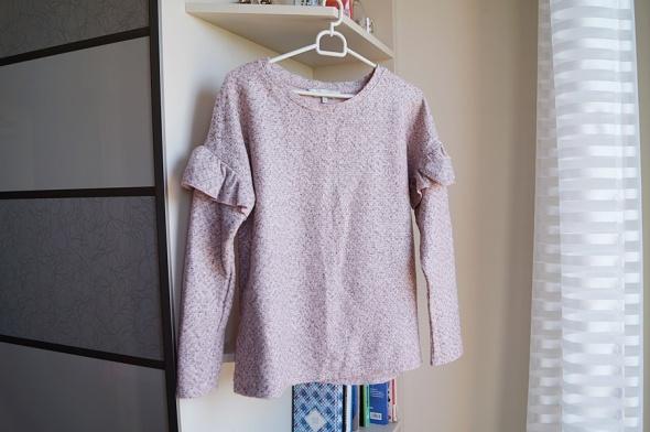 Różowy melanżowy sweterek z falbanka S