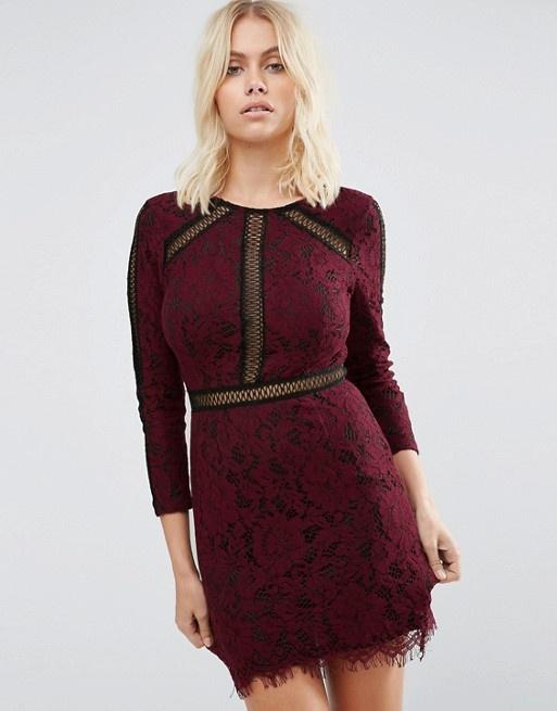 Koronkowa bordowa sukienka Goldie długi rękaw Goldie dopasowana koronka bordo modna insta tumblr
