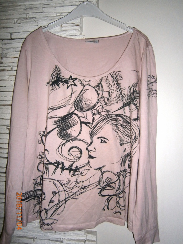 bawełniana bluzka z nadrukiem brudny róż
