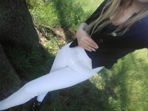 Spodnie białe rurki wysoki stan z wysokim stanem xs s