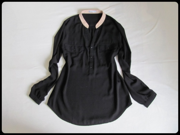 Koszule Czarna koszula mgiełka 38 M z kieszonkami długi rękaw