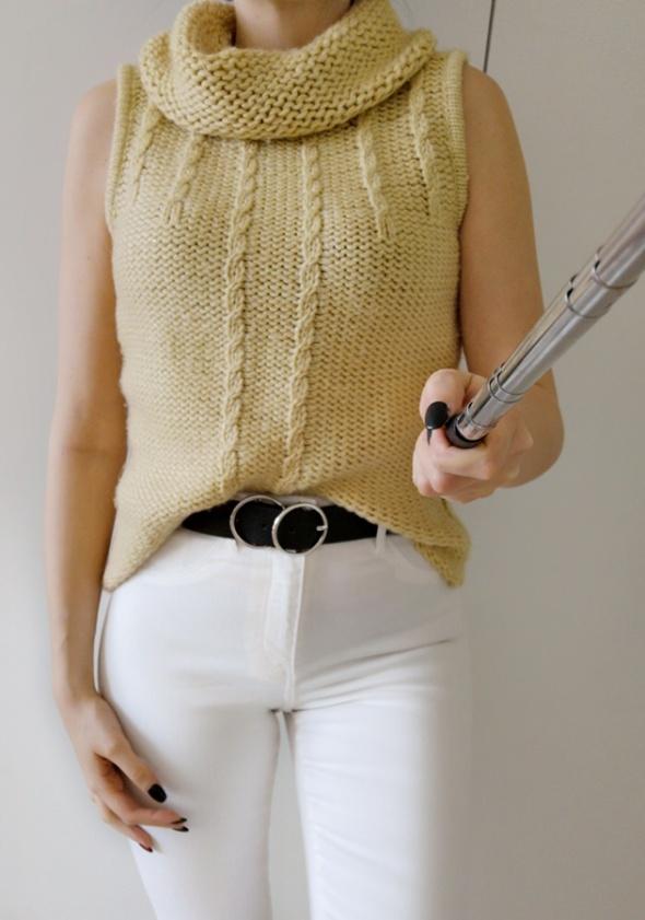 Sweter damski golf musztardowy ciepły uniwersalny...