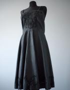 Ciemnoszara czarna sukienka w stylu vintage retro farbowana kwi...