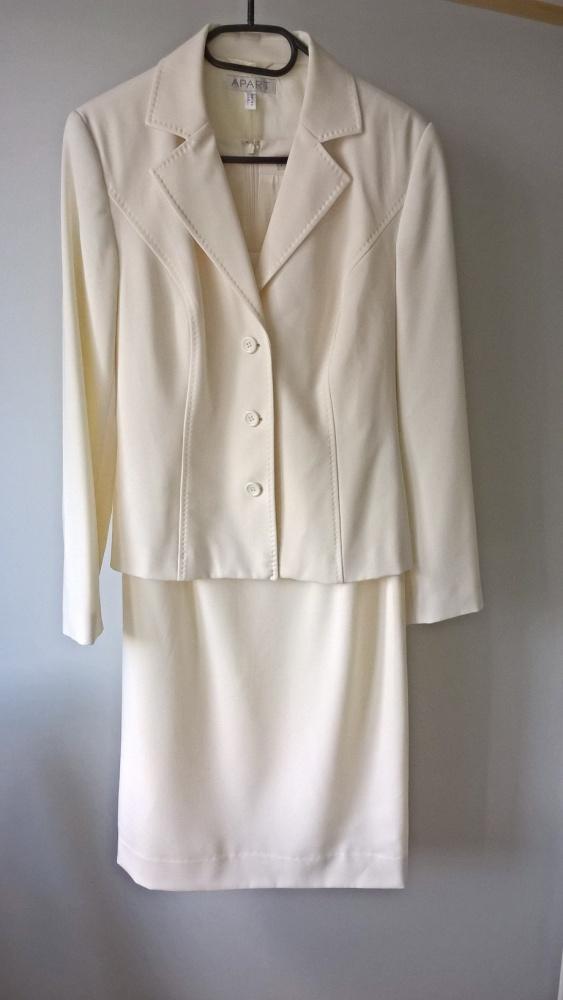 Śmietankowy komplet żakiet i sukienka APART M L chrzciny komunia wesele uroczystość