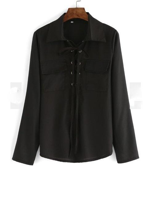 Czarna elegancka koszula wiązana M
