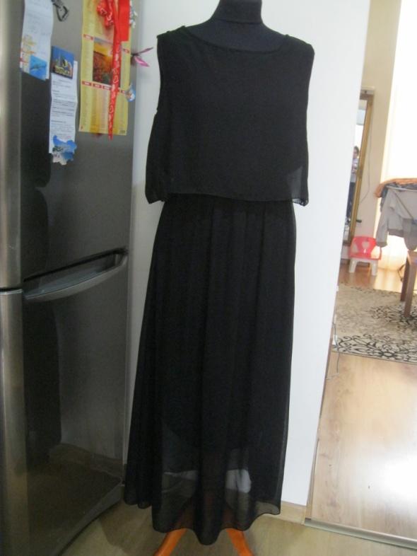 długa zwiewna sukienka long maxi S M czarna