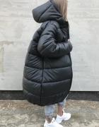 Czarny oversize pikowany gruby ciepły ekoskóra płaszcz xs plus size