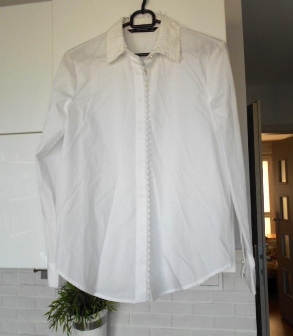 Koszule Zara nowa biała koszula kołnierzyk gipiura koronka