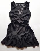 koronkowa piękna czarna sukienka na lato letnia zwiewna falbank...