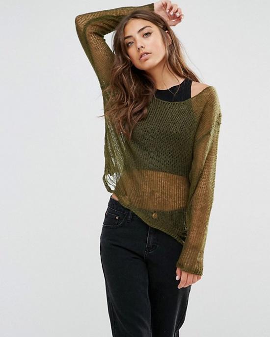khaki sweter ażurowy sweterek nowy siatka zielony oversize...