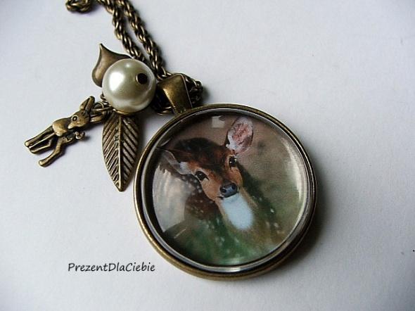 wisior medalion naszyjnik sarna stare złoto vintage zawieszki...