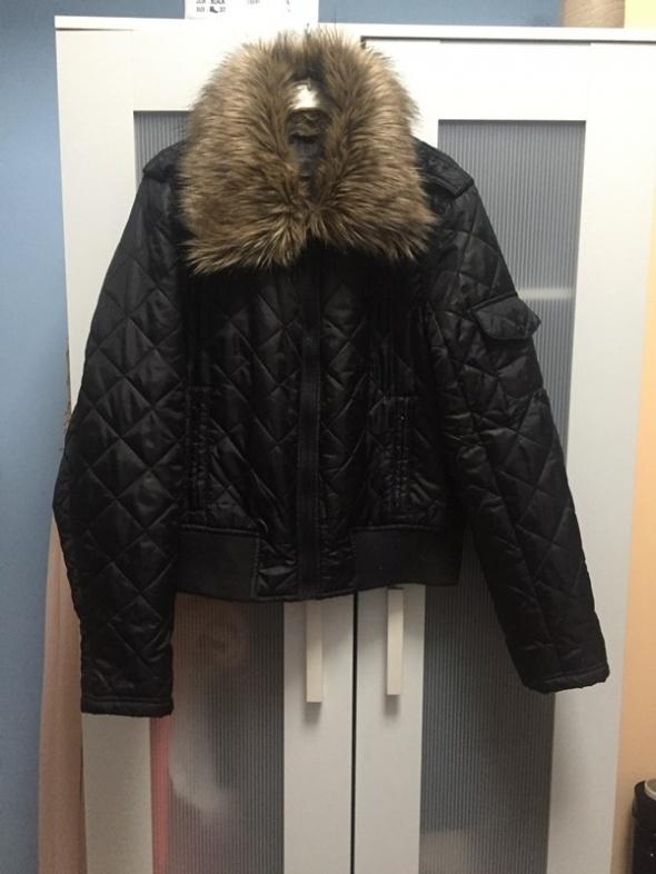 Czarna kurtka futerko XL