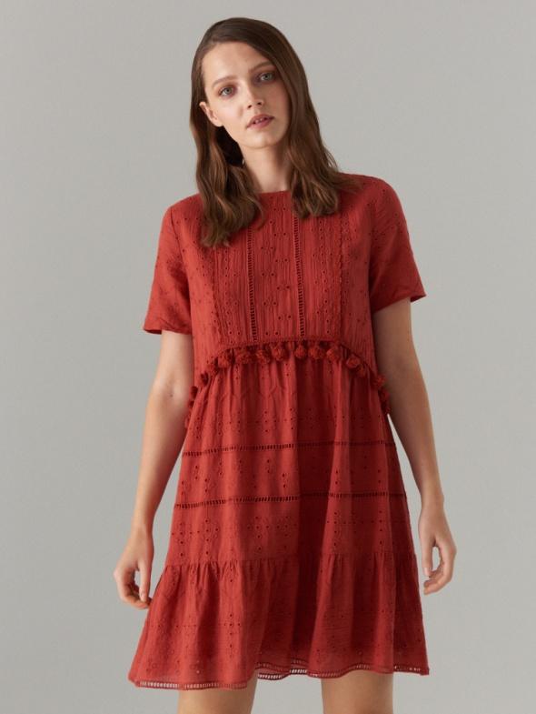 Sukienka z haftem Mohito chwosty koronka XS XXS